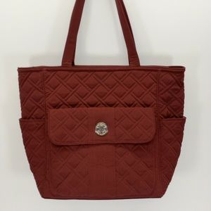 Vera Bradley Quilted Tote Purse Maroon Metal Clasp